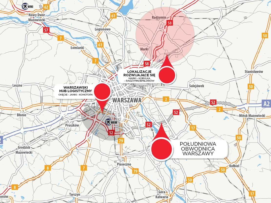 Rozwój dróg i subrynki magaznowe w Warszawie